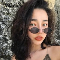 WHO CUTIE 2018 Retro Tiny Slim Sunglasses Women Men Brand Designer 90S Skinny Small Oval Sun Glasses Black Red Yellow Shades 629