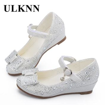 ULKNN Hot sale Princess Shoes Children Wedge Shoes Girls Footwear Soft Breathable Female Sandals Party For Girls Kids 2018