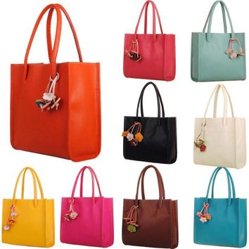 Leather pebbled  two strap shoulder bag / tote with leather flower charms ~ 8 colors