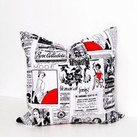 PARIS NEWSPAPER French Fashion Decorative Pillow Cover Handmade in the USA