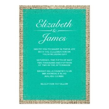 Turquoise Vintage Burlap Wedding Invitations