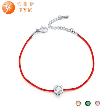FYM 9 Colors Red Rope Bracelet Round 6mm Cubic Zircon Charm Friendship Bracelets & Bangles for Women Wedding Party Jewelry Gift