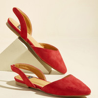 Slingback and Relax Vegan Flat in Ruby | Mod Retro Vintage Flats | ModCloth.com