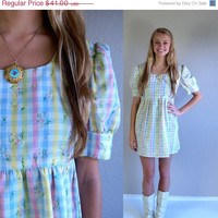 20% off vtg 60s pastel GINGHAM babydoll MINI DRESS Small mod floral print puff sleeve empire babydoll