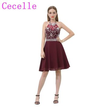 Burgundy Short Chiffon Cocktail Dresses 2018 Halter Sparkly Beaded Crysstals A-line Informal Juniors Prom Cocktail Party Dress