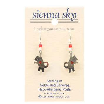 "Sienna Sky ""Arnie"" Hanging Cat W/Red Heart Earrings"