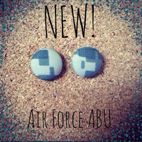 Air Force ABU Cover Button Earrings Set