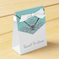 White Diamonds Teal Blue Sweet 16 Birthday Party Party Favor Boxes
