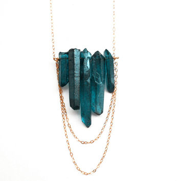 Teal Blue Crystal Quartz Point Necklace Crystal by toccajewelry