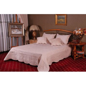 Tache 3-5 Piece Super Soft Solid Cream Good Vibration Bedspread Set (DXJ109041-3)