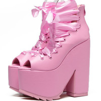 lace up bandage pink peep toe platform super very ultra high heel ankle boots creepers chunky heels cosplay punk shoes