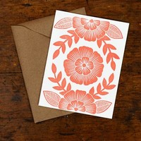 Blockprinted Card, Coral Floral Pattern - Set of 6