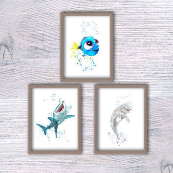 Baby Dory, Disney décor, Set of 3, Finding Dory, Destiny, Bailey, Nursery finding Nemo, Bebe gift, Wall art, Kids room, baby shower, V108