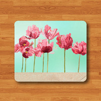 Watercolor Floral Garden Park Mouse Pad Green Red Flower Mint Art Rubber MousePad Rectangle Matt Personalized Gift Desk Deco Work Gift Wood