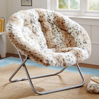 Snow Leopard Faux Fur Hang-A-Round Chair