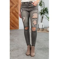Grace & Lace Button Fly Distressed Jegging - Grey