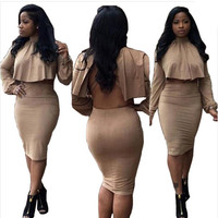 2016 Women Two Piece Outfits Winter Long Sleeve Black Backless Sexy Club Bandage Dress Bodycon Party Dresses Vestidos