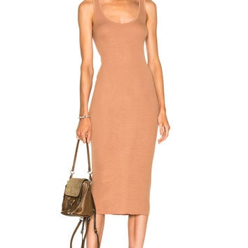 Enza Costa Rib Tank Dress in Tan | FWRD