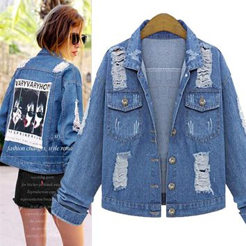 Autumn Women's Fashion Denim Slim Long Sleeve Jacket [206225113114]