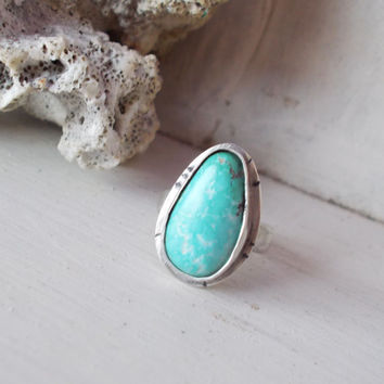 Natural light blue Royston turquoise sterling silver cocktail ring, tear drop freeform raw stone, minimalist forged artisan jewelry, size 7