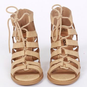 For The Lovers Lace Up Heel Beige