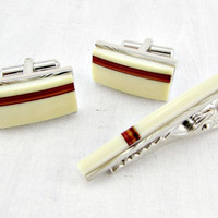 Vintage Modernist Cuff-Links & Tie Clip Bar Set, Cream Brown Striped Art Glass Cuff-Links, Mid-Century Modern Cuff-Links, 1960s Mens Jewelry