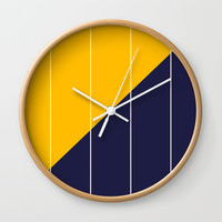 Yellow Blue Chamber Wall Clock by spaceandlines