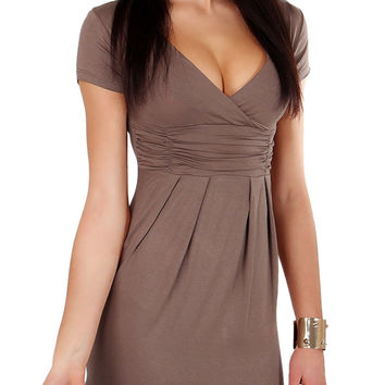 Coffee Wrap Plunge Short Sleeve Ruched Bodycon Dress