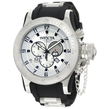 Invicta 10133 Men's Russian Diver Silver Tone Dial Black Rubber Strap Stainless Steel Chronograph Dive Watch