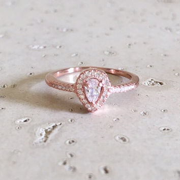 Small Rose Gold Promise Ring- Halo Ring- Rose Gold Ring- Engagement Ring- April Birthstone Ring- Gemstone Ring- CZ Ring- Silver Ring