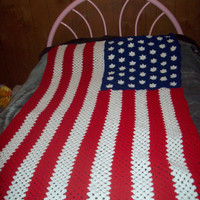 American Flag Afghan, Crochet Afghan, Made To Order