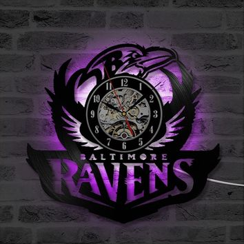Black Hollow Baltimore Ravens Vinyl Record Clock Creative and Fashion CD Wall Clock Antique  Hanging Wall Art LED Clock