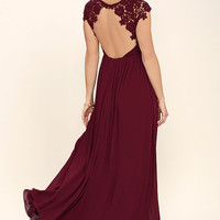 The Greatest Burgundy Lace Maxi Dress