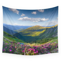 Society6 Floral Mountain Landscape Wall Tapestry