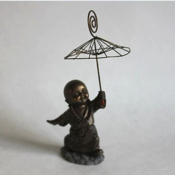Buddhist Child With Metal Umbrella Antiqued Bronze Finished Figurine, Vintage Asian Oriental Hindu Resin & Metal Art Statue, Monk