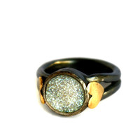 Drusy Signet Ring - Heavy Cast Sterling Silver Setting with Rachel Pfeffer Signature Brass Hearts