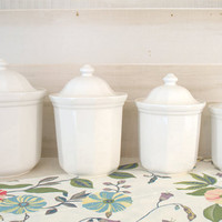 Pfaltzgraff Heritage Ceramic Canister Set,  White Kitchen Canisters