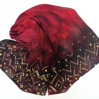 Deep Oxblood Red Long 100% Flat Crepe Silk Scarf