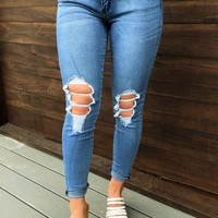 Hole In My Heart Jeans: Denim