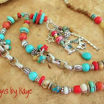 Turquoise Necklace, Rustic Cowgirl, Boho Southwest Stone Necklace, Chunky Stone Necklace, Original Handmade Bohemian Jewelry by Kaye Kraus