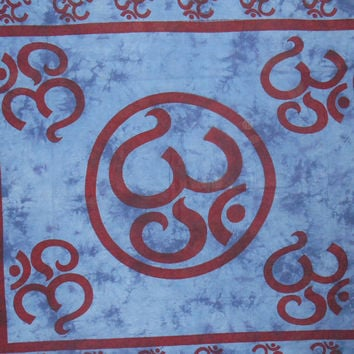 Om Indian Wall Hanging Cotton Tapestry Blue Full Size Bedsheet Tapestries 92X82 Inches NTP17