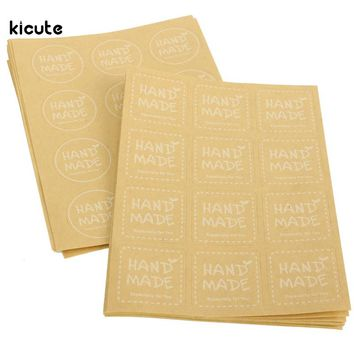 120pcs Kraft Paper Craft Sticker Hand Made Labels For Scrapbooking Envelopes Cupcake Party Gift Package Sealing Stickers