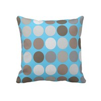Gray Brown Circles & Blue Modern Abstract Pattern Throw Pillows- Modern Pillows-Home decor-geometric pillows,dorm, decor, decorative pillows