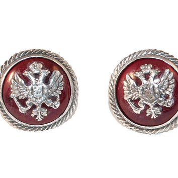 Russian Imperial Crest Cuff Links by Fenwick & Sailors, Sterling Silver & Red Enamel