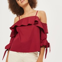 Ruffle Cold Shoulder Top - Tops - Clothing