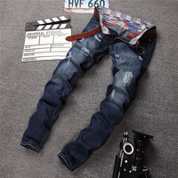 Blue Strong Character Ripped Holes Slim Denim Pants Jeans [6541747907]