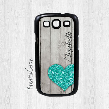 Personalized Galaxy S3 Case, Samsung Galaxy S3 Case, Wood and Glitter Phone Case, Monogrammed Phone Cover - K023