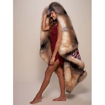 Wild Coyote Faux Fur Throw