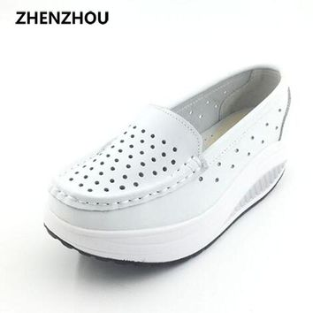 2017 Summer genuine leather cutout breathable swing shoes white nurse shoes wedges hei
