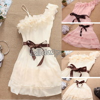 Hot Sale 3Color Summer Women Strap Cute Chiffon Pleated Skirt Dress